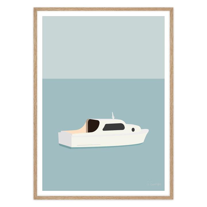 artvoll - Hvid-Bad Poster mit Rahmen, Eiche natur