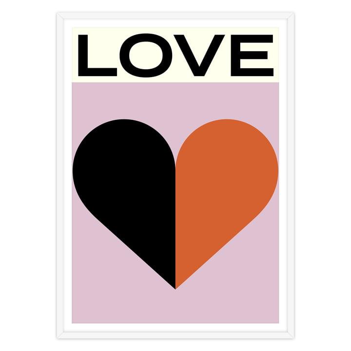artvoll - Love Poster mit Rahmen, weiß
