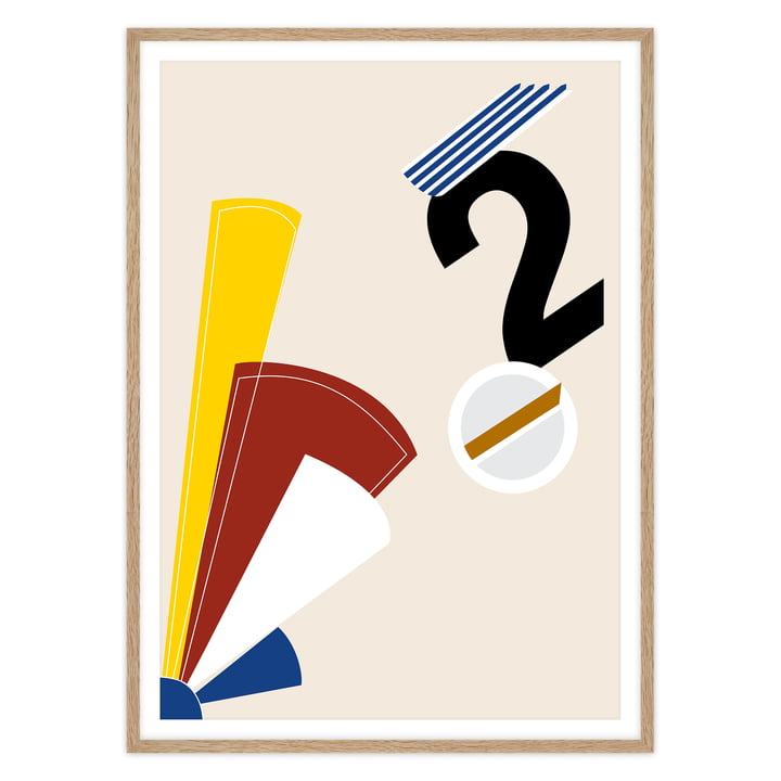 artvoll - Numeric II Poster mit Rahmen, Eiche natur