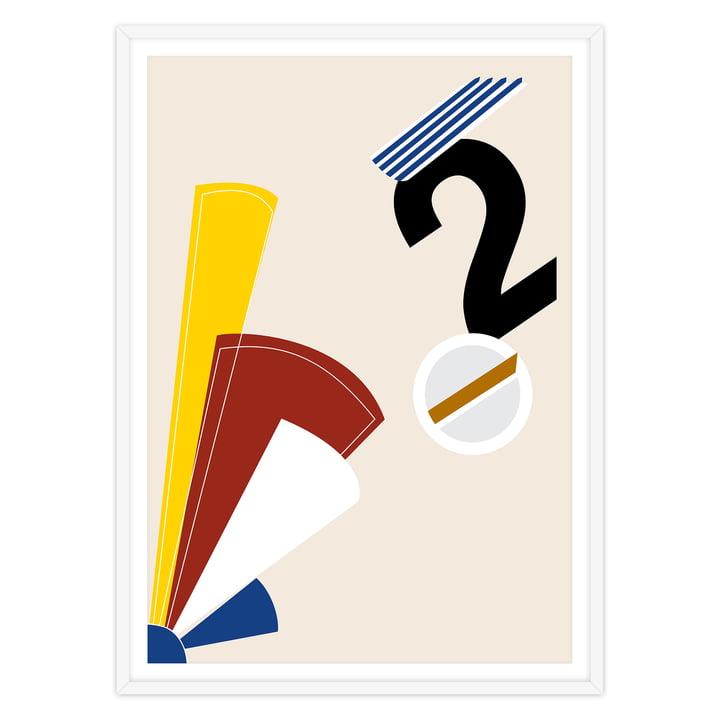 artvoll - Numeric II Poster mit Rahmen, weiß