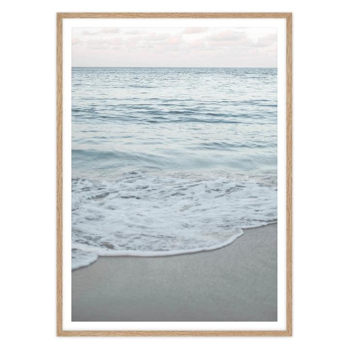 artvoll - Ocean Waves Poster mit Rahmen, Eiche natur
