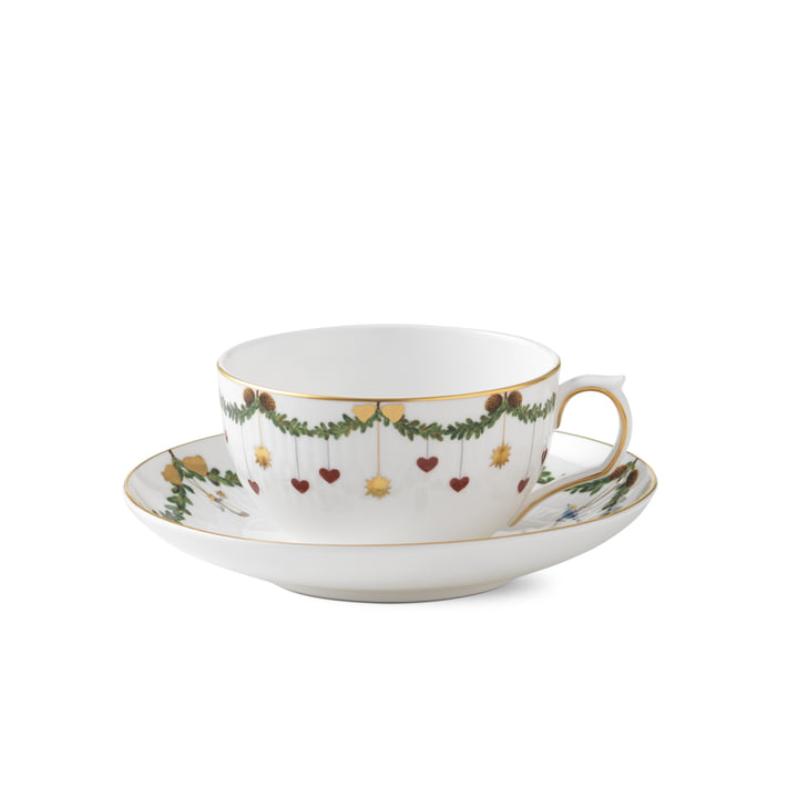 Star Fluted Christmas Tasse mit Untertasse 32 cl von Royal Copenhagen