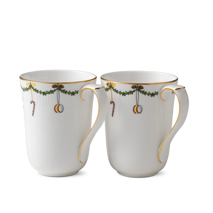 Star Fluted Christmas Becher 33 cl (2er-Set) von Royal Copenhagen