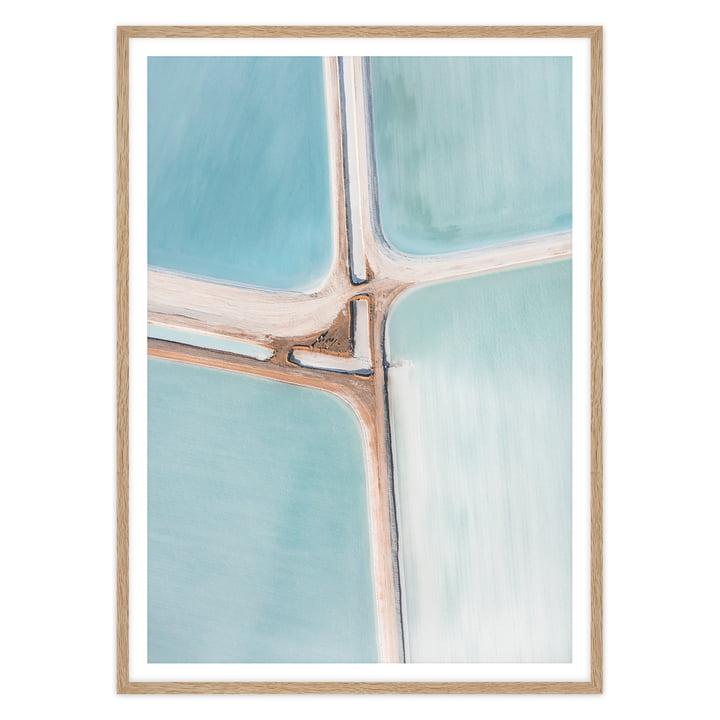 artvoll - Pastel Salt Flat No. 1 Poster mit Rahmen, Eiche natur