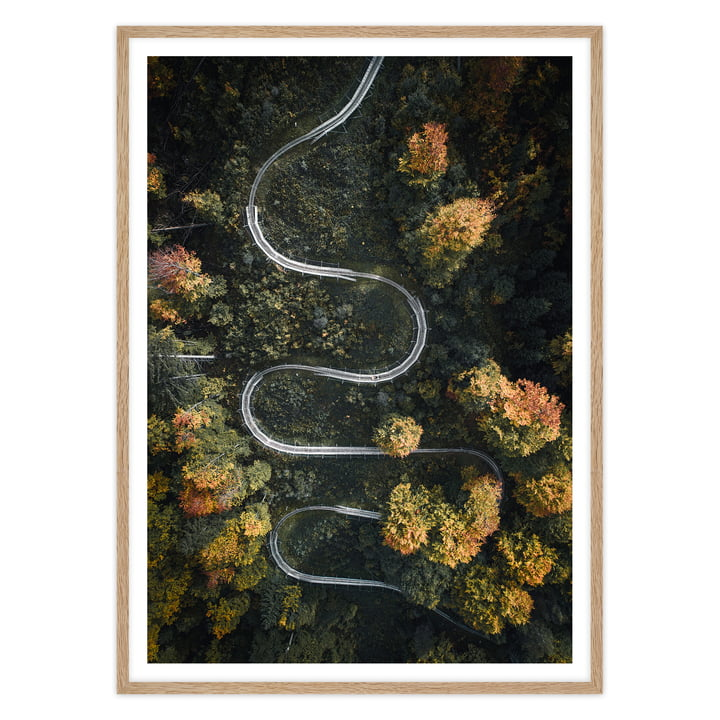 artvoll - Serpentine Poster mit Rahmen, Eiche natur