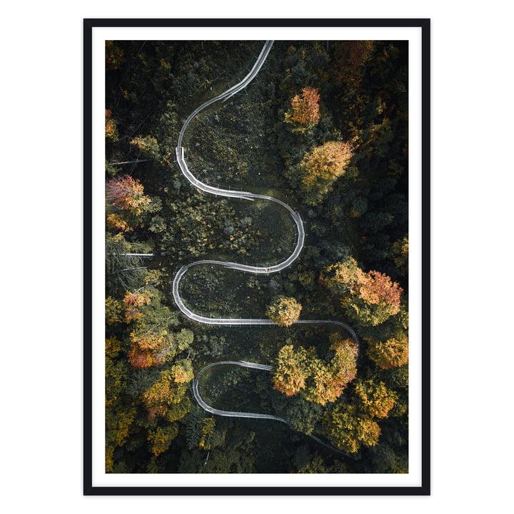 artvoll - Serpentine Poster mit Rahmen, schwarz