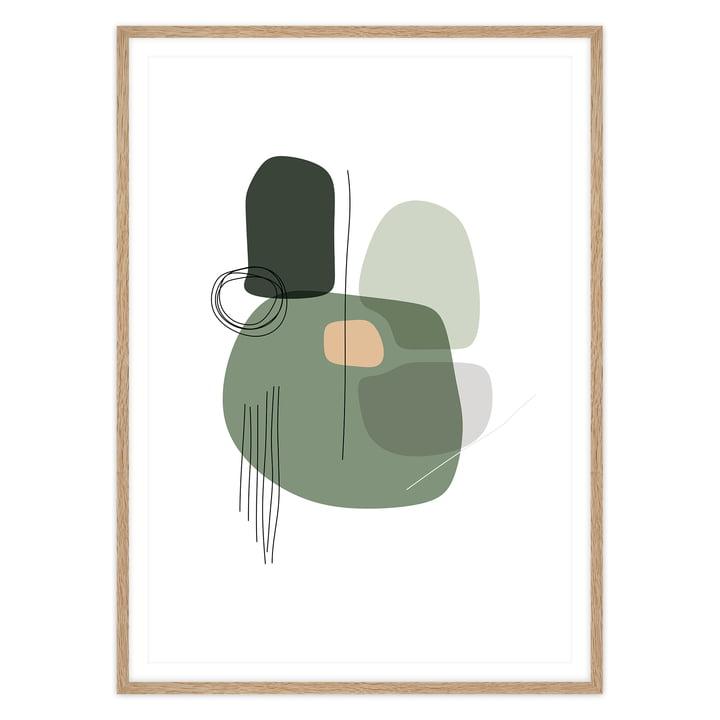 artvoll - Shapes 1 Grass Poster mit Rahmen, Eiche natur