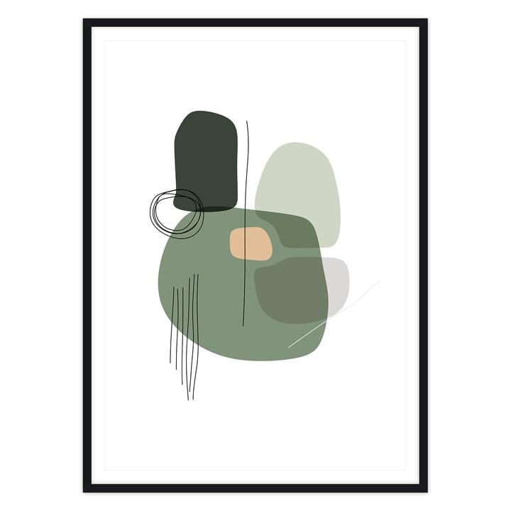 artvoll - Shapes 1 Grass Poster mit Rahmen, schwarz
