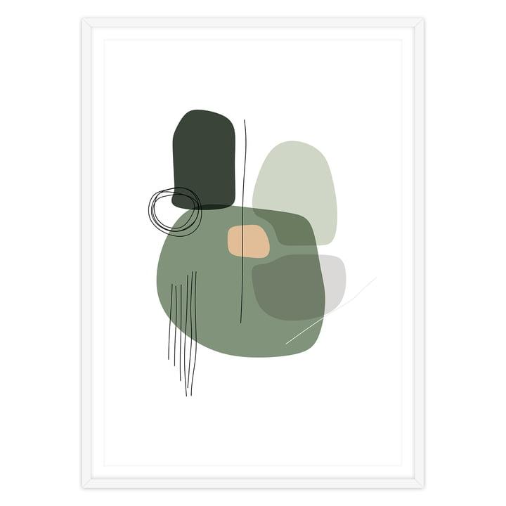artvoll - Shapes 1 Grass Poster mit Rahmen, weiß