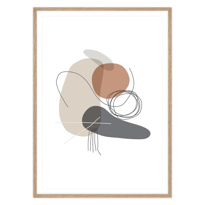artvoll - Shapes 4 Stones Poster mit Rahmen, Eiche natur