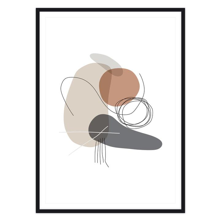 artvoll - Shapes 4 Stones Poster mit Rahmen, schwarz