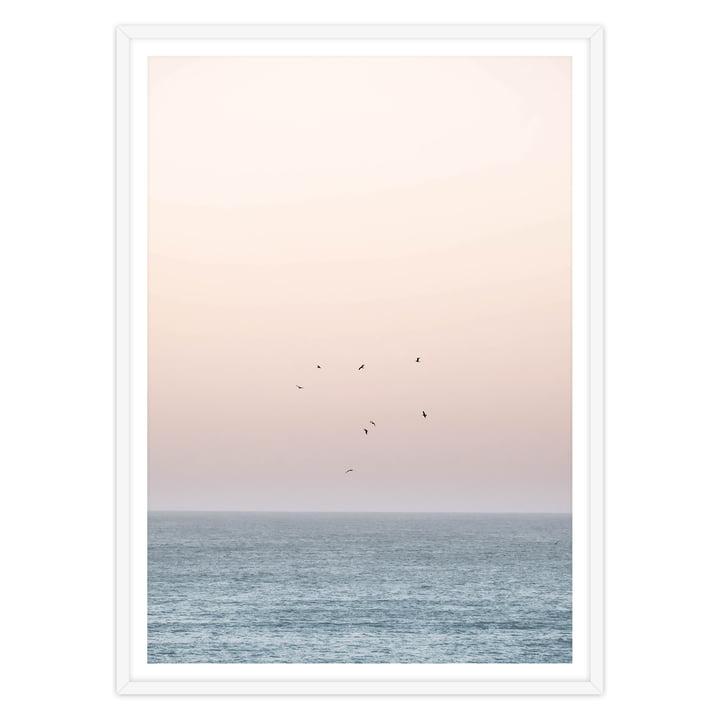 Artvoll - Sunset on the Horizon Poster mit Rahmen, weiß