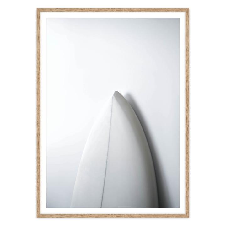 artvoll - Surfboard Poster mit Rahmen, Eiche natur