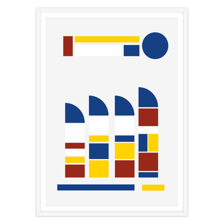 artvoll - Towers Poster mit Rahmen, weiß