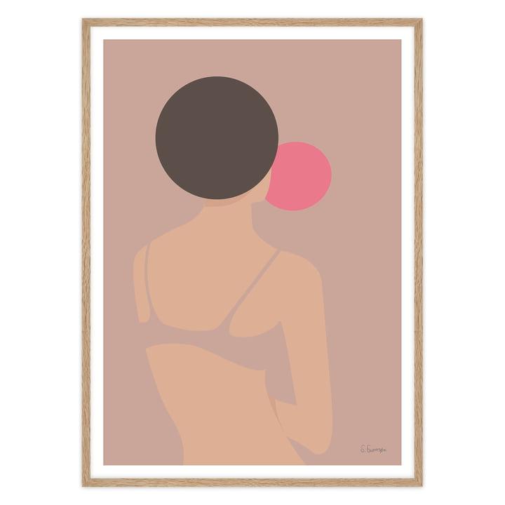 artvoll - Tyggegummikvinde Poster mit Rahmen, Eiche natur
