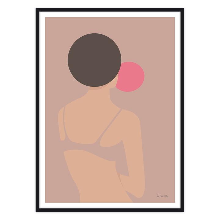 artvoll - Tyggegummikvinde Poster mit Rahmen, schwarz