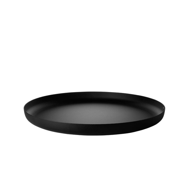 Tablett Ø 35 x H 3 cm von Alessi in schwarz mit Reliefdekor