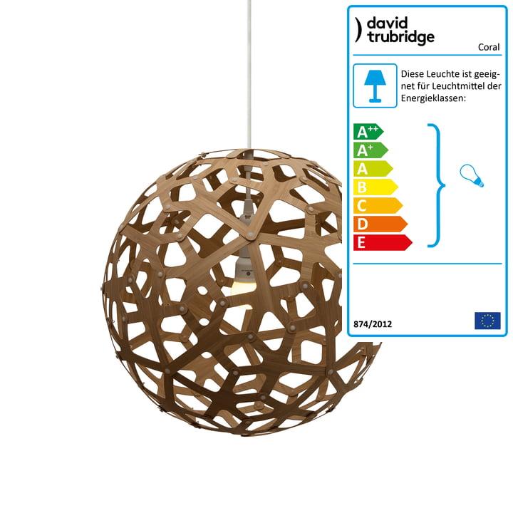 Coral Pendelleuchte Ø 40 cm von David Trubridge in beidseitig karamell