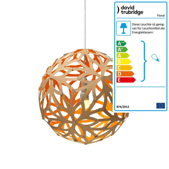 Floral Pendelleuchte Ø 40 cm von David Trubridge in natur/ orange