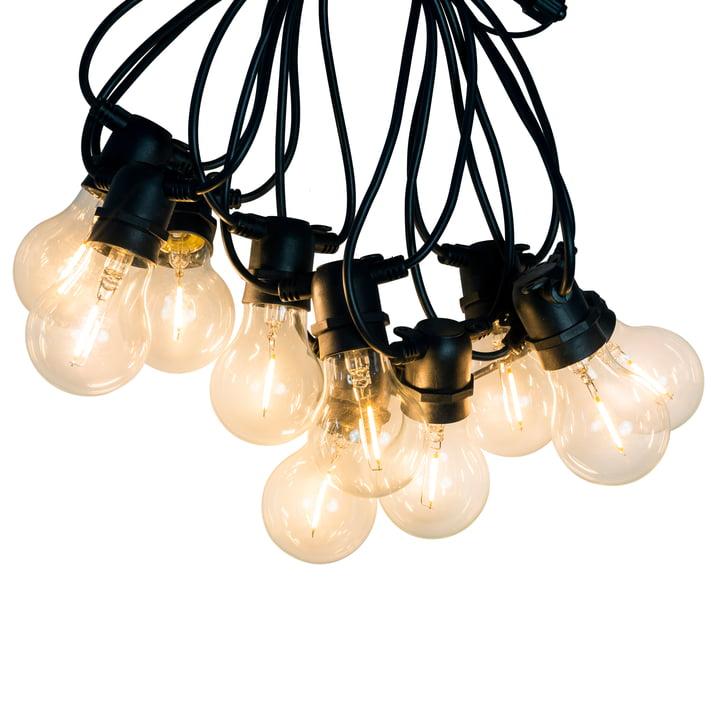 Collection - LED Lichterkette Indoor/Outdoor (IP 44), 10 Lampen rund, Kabel schwarz