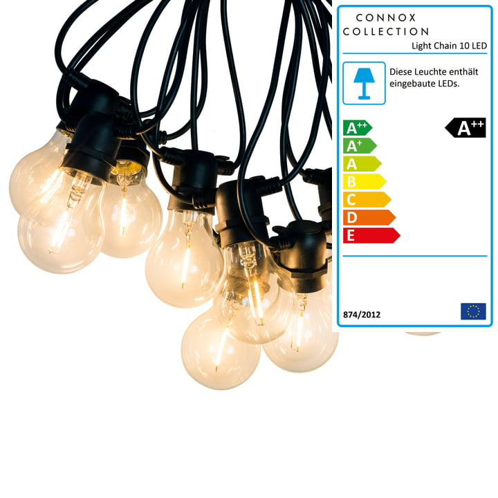Connox Collection - LED Lichterkette Indoor/Outdoor (IP 44), 10 Lampen rund, Kabel schwarz