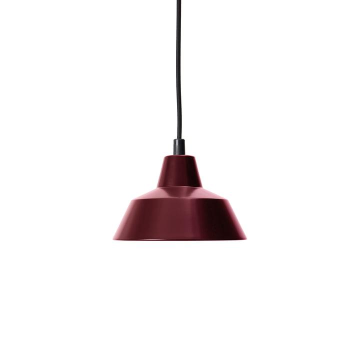 Workshop Lamp W1, weinrot / schwarz von Made by Hand