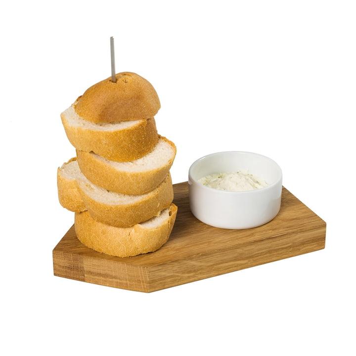 Brot Ahoi Servierbrett mit Dippschale, Eiche / weiß von Raumgestalt