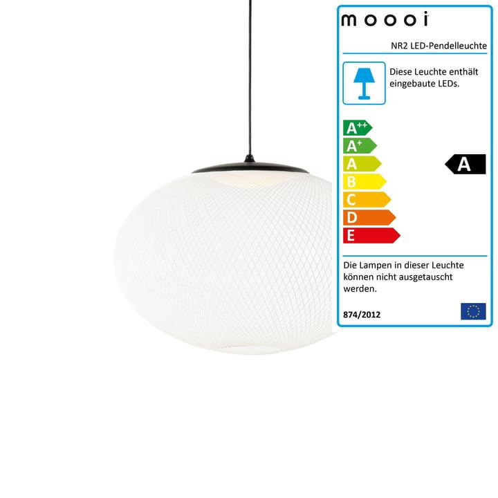 NR2 LED-Pendelleuchte M, schwarz / weiß von Moooi