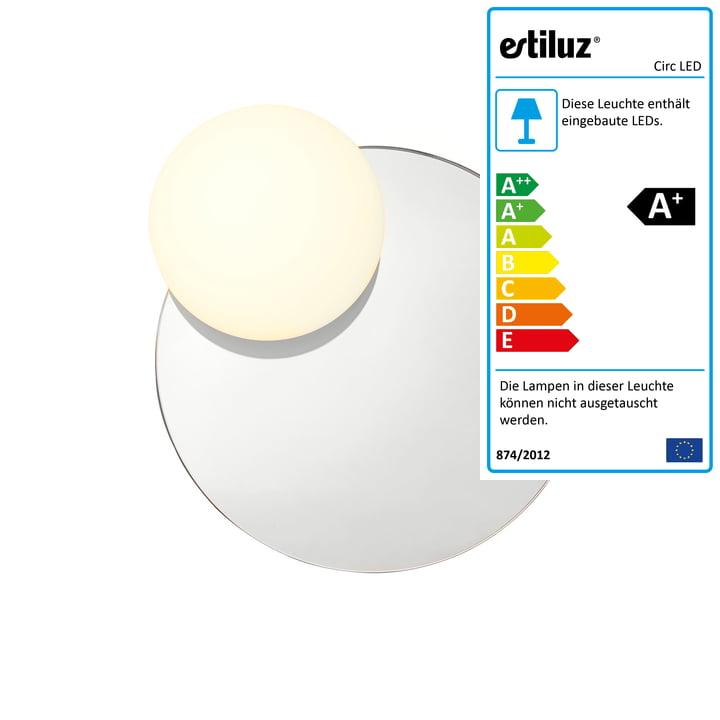 Circ LED Wandleuchte mit Spiegel A-3702 Ø 30,8 cm von Estiluz in rauchgrau