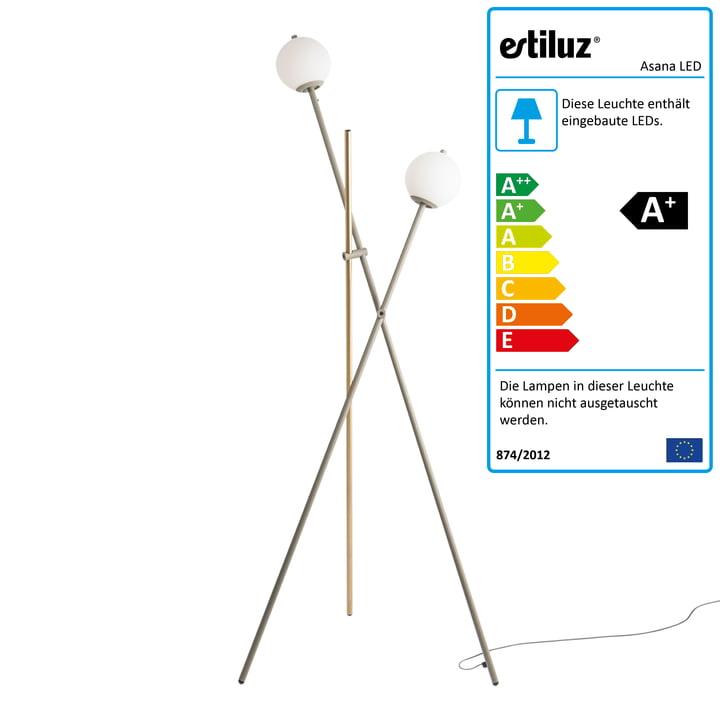 Asana LED Stehleuchte von Estiluz in mink / satingold