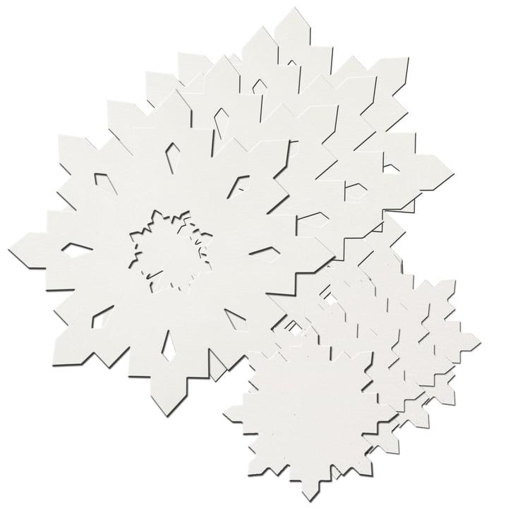 Snowflake Geschenkset von LindDNA in crystal white 1,6 mm (4 Tischsets + 4 Glasuntersetzer)