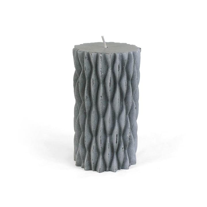 Collection - rustikale Blockkerze mit Dekor, H 12 cm / dunkelgrau