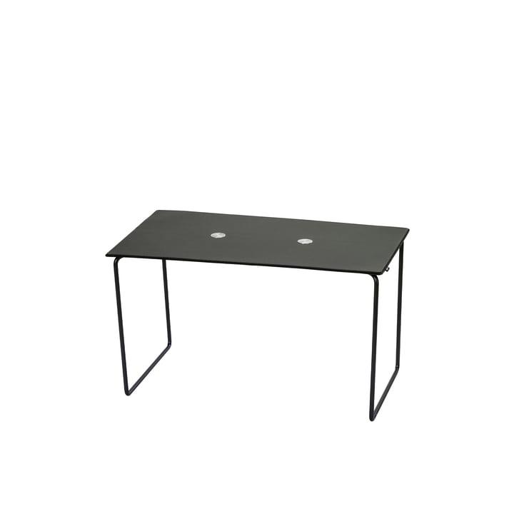 Jewel Bank small L 72 cm von LindDNA in Stahl schwarz / Bull schwarz / Wolle anthrazit / Jewel Alu