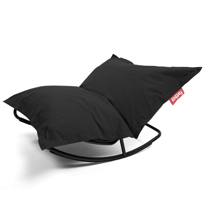 Rock 'n' Roll Lounge Chair mit Original Sitzsack von Fatboy in stonewashed black (Kombi-Deal)