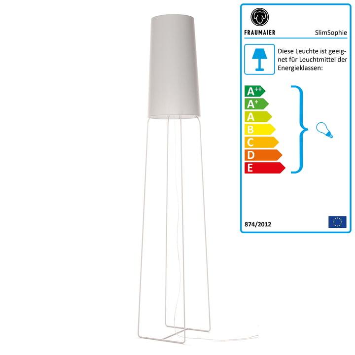 Slimsophie Stehleuchte mit LED-Dimmer von frauMaier in grau (RAL 7047)