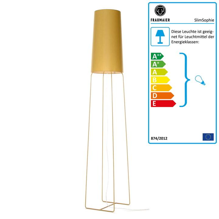 Slimsophie Stehleuchte mit LED-Dimmer von frauMaier in senfgold (RAL 1002)