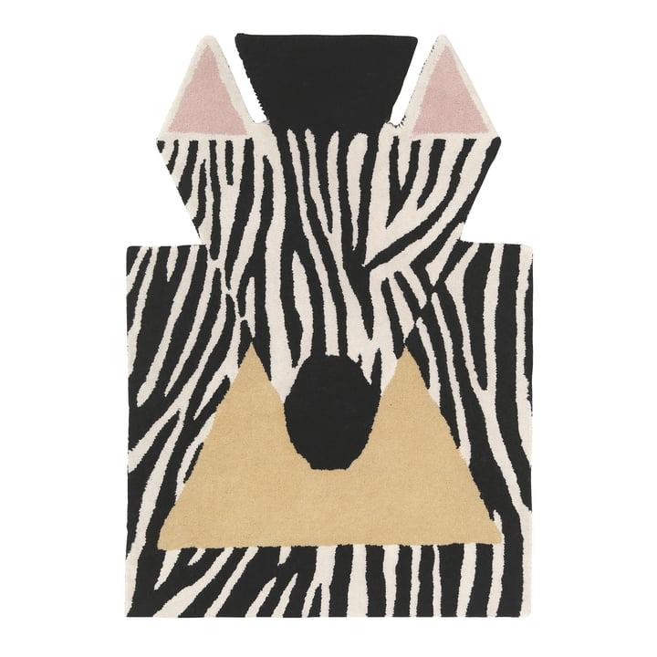 Tierteppich Zebra 100 x 70 cm von EO Denmark in schwarz / weiß / beige