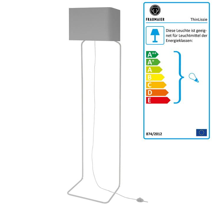 ThinLissie Stehleuchte mit LED-Dimmer von frauMaier in hellgrau (RAL 7047)