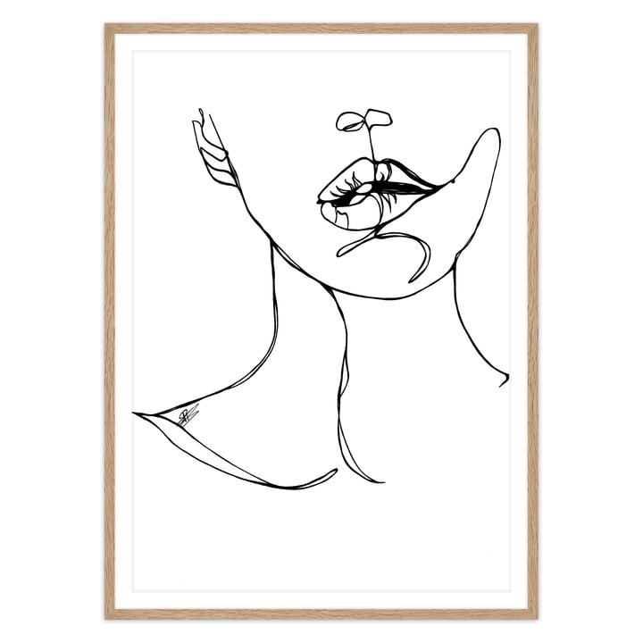 artvoll - Bite Poster mit Rahmen eiche