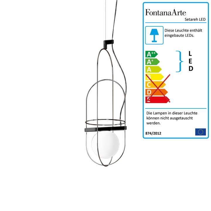 Setareh LED Pendelleuchte small von FontanaArte in Nickel schwarz