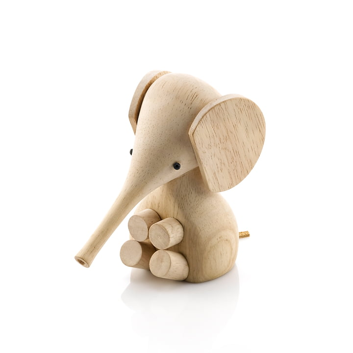 Gunnar Flørning Baby Elefant Holzfigur H 11 cm von Lucie Kaas in Gummibaum natur