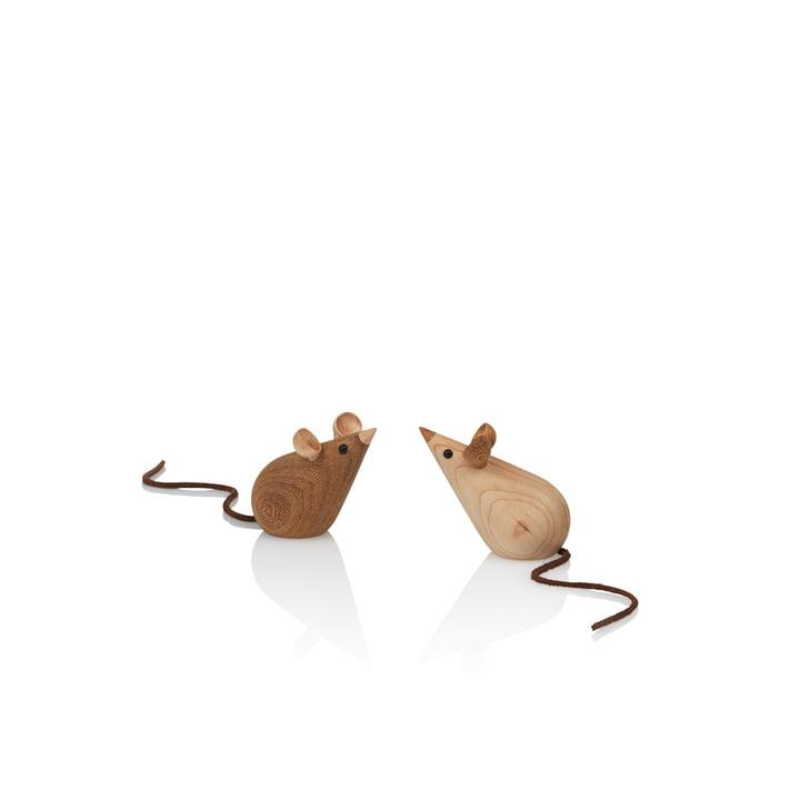Skjøde Maus Holzfigur von Lucie Kaas in Esche / Kastanie (2-teilig)