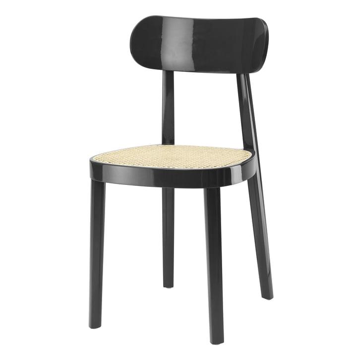 118 Stuhl, Rohrgeflecht mit Kunststoffstützgewebe / Buche schwarz hochglänzend lackiert von Thonet