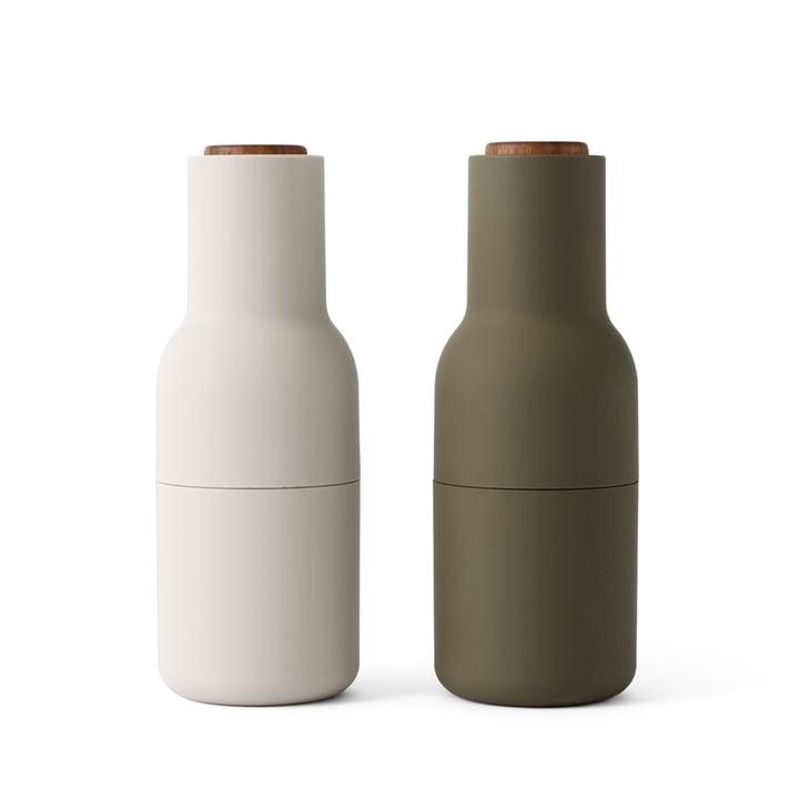 Bottle Salz- und Pfeffermühlen Set von Menu in hunting green / beige (Holzdeckel)