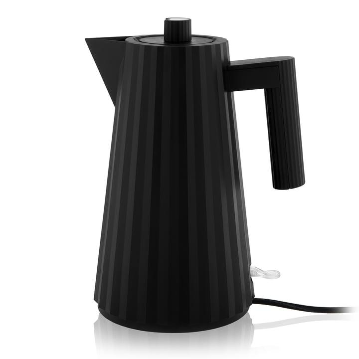 Plissé Wasserkocher 1,7 l von Alessi in schwarz