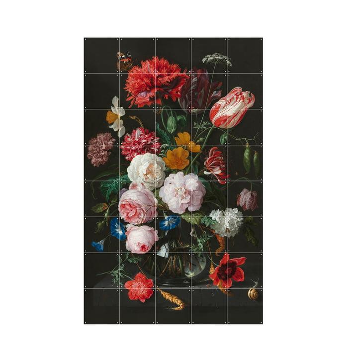 Blumenstillleben in einer Glasvase (De Heem) von IXXI in 100 x 160 cm
