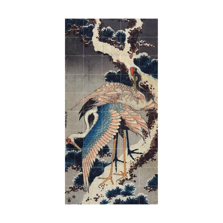 Kraniche am Ast einer verschneiten Kiefer (Hokusai) 100 x 200 cm von IXXI