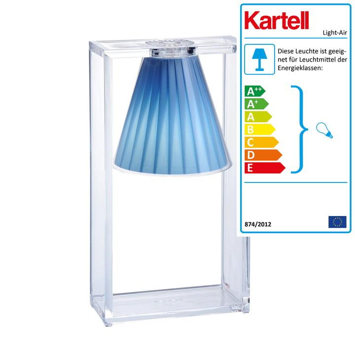 Light-Air Tischleuchte, glasklar / blau von Kartell