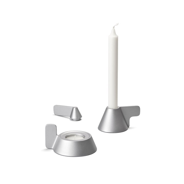 Cone Kerzenhalter von Design House Stockholm in grau