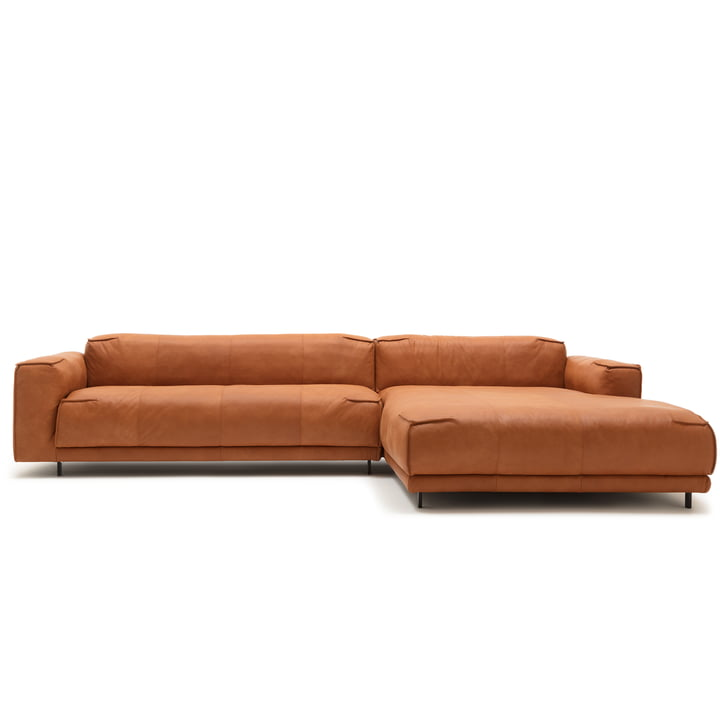 136 Sofa mit Récamiere rechts von freistil mit Bezug Leder ockerbraun (9224) / Stahleinzelfuß tiefschwarz (RAL 9005)